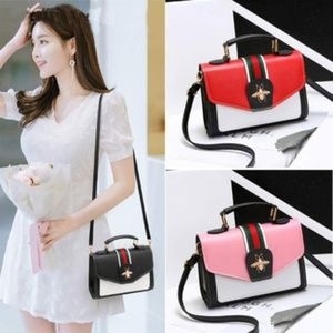 red white handbag with free headband bumble bee